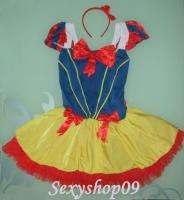 Disney Adult Womens Girls Snow White Dress Halloween Costume with hair