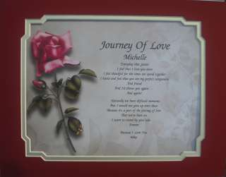 JOURNEY OF LOVE PERSONALIZED POEM WEDDING ANNIVERSARY GIFT TO BRIDE