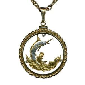 Gold and Sterling Silver Cut Coin Necklace Pendant Womens Men