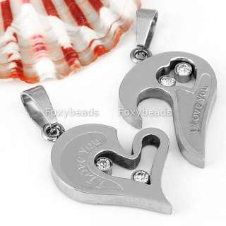 Silvery Stainless Steel Love Heart Couple Jigsaw Pendant Necklace