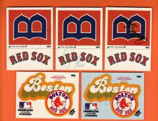 Autographed Boston Red Sox Lot of Stickers 2 Rice, Fisk & 2 Lynn