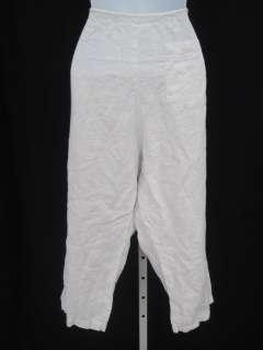 DESIGNER White Linen Capri Pants Slacks Bottoms Size M