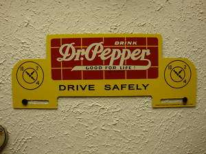 OLD VINTAGE 1940 DR PEPPER LICENSE PLATE TOPPER SIGN