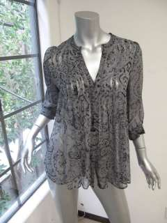 Joie Gray/Black Paisley Print Long Sleeve V Neck 1/2 Button Sheer