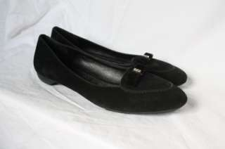 COACH LIDIA BLACK SUEDE LEATHER FLATS BOWTIE LOAFERS BLING EUC 11M