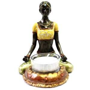 Cold Cast Bronze Lady in Yoga Lotus Pose Tea Light Holder