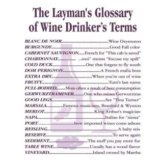 Laymans Glossary Wine Drinker Terms Apron T Shirt New