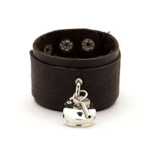 Brown lock key leather bracelet rock wristband cuff by