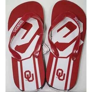 Oklahoma Unisex Big Logo Flip Flops   Medium  Sports