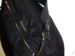 KATE SPADE Black Nylon And Leather Drawstring Slouchy Satchel Handbag