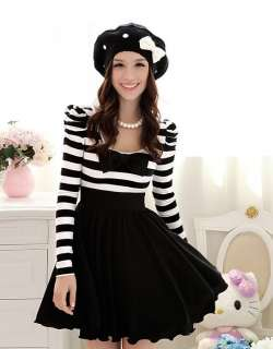 Cute Sweet Japan Dolly Gothic Punk Lolita DOLLY BOW Stripes Onepiece