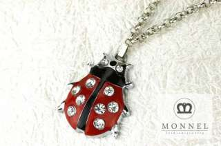 L15 Red Ladybug Crystal Pendant Charm Necklace (&Gift Box)