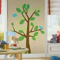 TREE BiG Wall Mural Stickers Room Decor Nursery Decals Kids Dots Bird