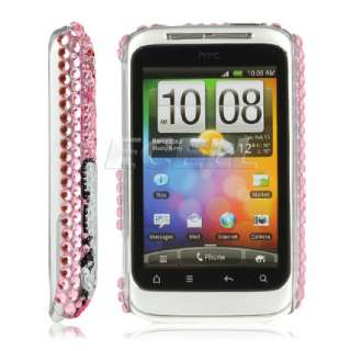 PINK HELLO KITTY BLING BACK CASE FOR HTC WILDFIRE S