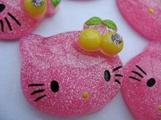 20 Resin Hello Kitty Flatback Bead/Cherry Hot Pink K002