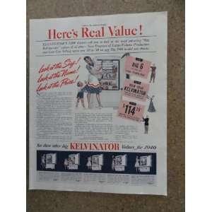 Kelvinator refrigerators, Vintage 40s full page print ad