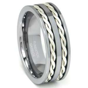 Tungsten Carbide Silver Rope Wedding Band Ring Sz 8.0 SN#501 Jewelry