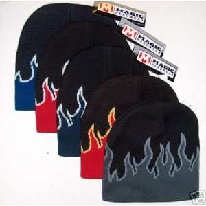 5 Color Pack of Flame Design Knit Beanie Ski Caps Hats