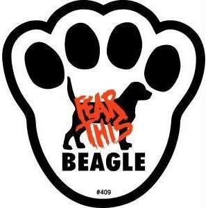 Fear This Beagle Dog Pawprint Window Decal w/Suction Pet