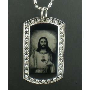 Lord Jesus silver tone CZ Dog Tag Pendant Necklace