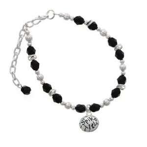 Volleyball   Spike It Black Czech Glass Beaded Charm Bracelet