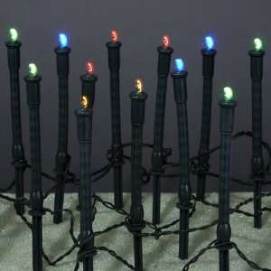 Set of 60 LED Multi Color Garden Stake Lights   Black Wire