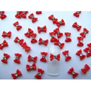 Nail Art 3d 40 Piece Small Red Bow /Rhinestone for Nails, Cellphones