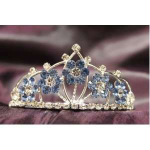 Beautiful Princess Bridal Wedding Tiara Crown with LT Blue