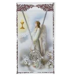 Pewter St. Gabriel Medal & 18 Chain, Prayer Card Set