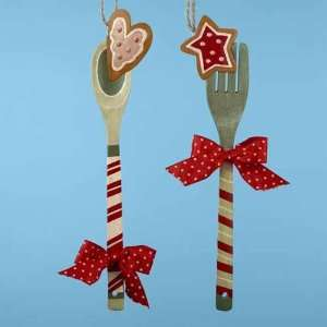 Hand Painted Fork & Spoon Christmas Ornaments 12