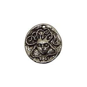 Green Girl Pewter Medusa Coin 24x26mm Charms Arts, Crafts