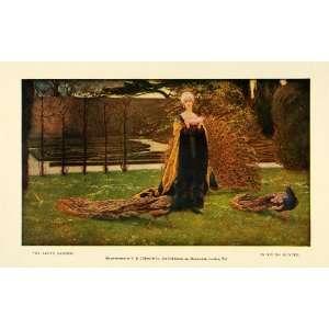 1907 Print My Ladys Garden Peacocks Birds Feathers