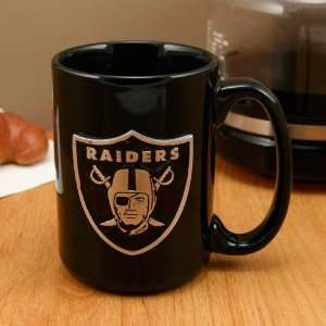 Oakland Raiders Pewter Logo Black Ceramic 15 oz. Coffee Mug