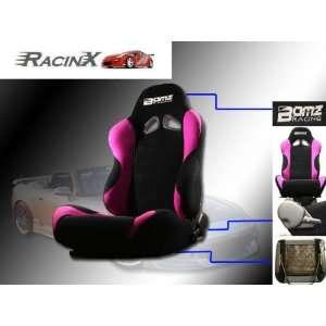 Black with Pink Universal Racing Seats   Pair Automotive