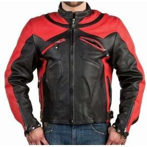 Red Vented Leather Motorcycle Racing Jackets with Armor, Mens Armored