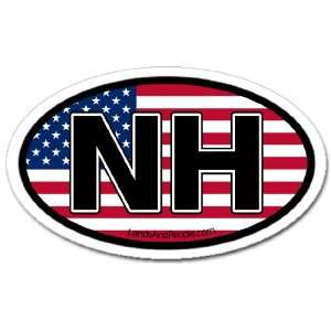 New Hampshire NH and US Flag Car Bumper Sticker Decal Oval