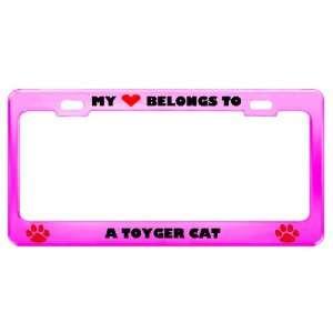 Toyger Cat Pet Pink Metal License Plate Frame Tag Holder