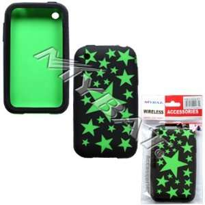 Apple iphone 3G Laser Cut Black Stars(Green) Skin Case