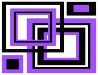 PURPLE BLACK SQUARES TEEN WALL BORDER STICKERS DECALS