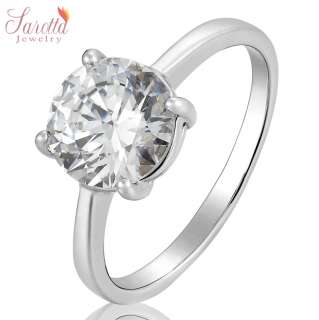 SALE Gift Fine Clear Topaz White Gold GP Ladies Ring Fashion Jewelry