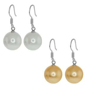 12mm Peach and White Color Shell Pearl Silver Dangle Earrings Fish