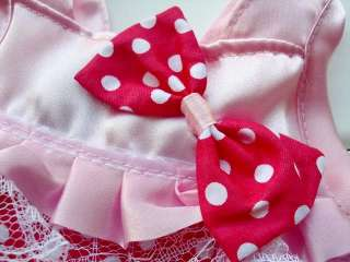PET Dog Clothes princess DOT BOW Top silk bottom cotton dress XS,S,M,L