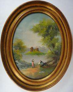 PAINTING COPPER METAL OVAL GOLD FRAME FRENCH GERMAN POLISH WOMAN ART