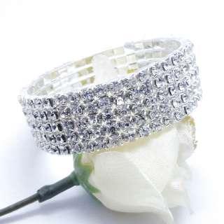 Row Rhinestone Crystal Elastic Stretch Jewelry Ring FREE SHIP