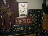 PRIMITIVE BLOCK SIGN~~THE OLDE FARMHOUSE~ROOSTER~~