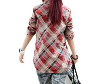 Womens Basic Casual Plaid Long Sleeve T shirt Tops Blouses