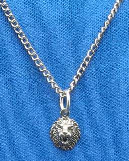 Sterling Silver Lion Head Necklace Pendant, face