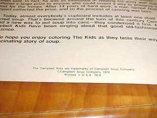 1976 Campbell Kids Coloring Book premium unused