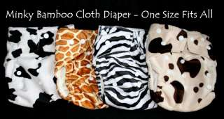 Bamboo Minky Baby Cloth Diaper/Nappy+ Insert GIRAFFE