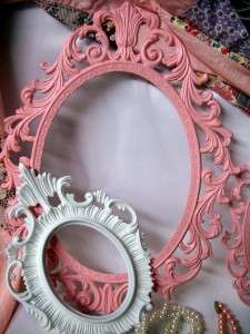 Vintage Shabby Cottage Chic Paris Pink & White Ornate Picture Frames